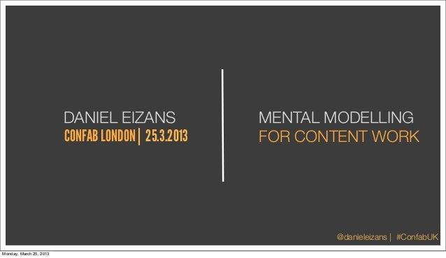 DANIEL EIZANS               MENTAL MODELLING                         CONFAB LONDON | 25.3.2013   FOR CONTENT WORK         ...