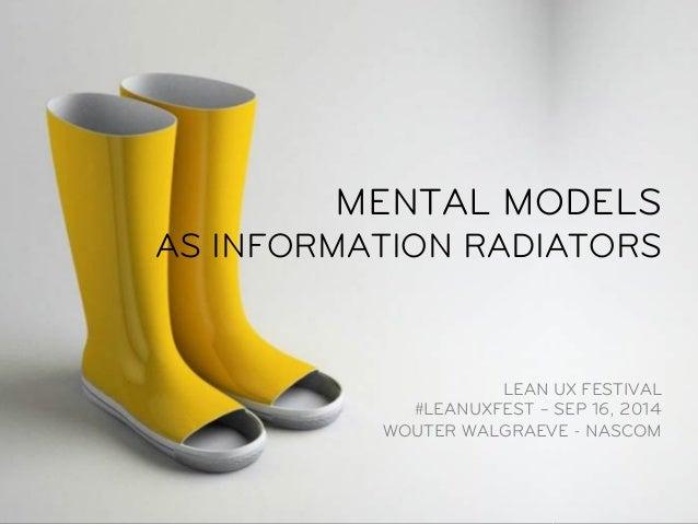MENTAL MODELS  AS INFORMATION RADIATORS  LEAN UX FESTIVAL  #LEANUXFEST – SEP 16, 2014  WOUTER WALGRAEVE - NASCOM