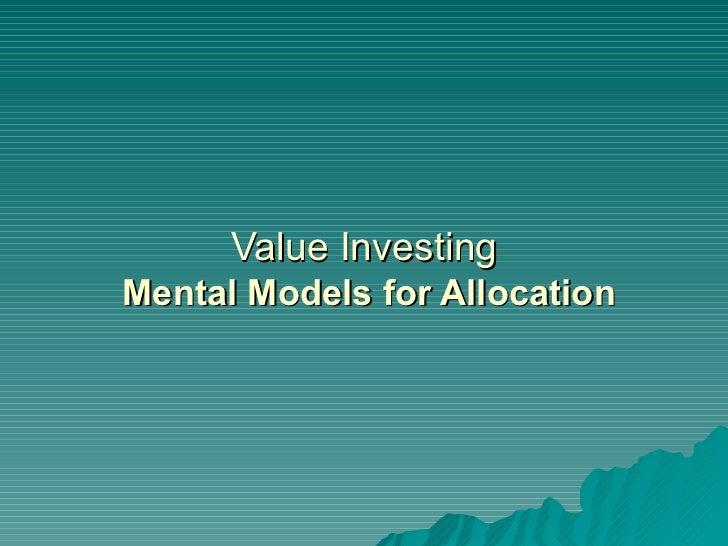 Value Investing   Mental Models for Allocation