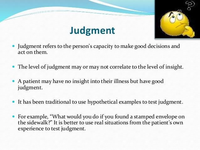 mental state examination abstract thinking  insight and judgment