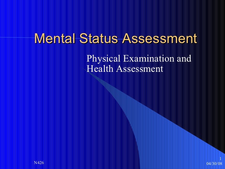 Mental Status Assessment Physical Examination and  Health Assessment