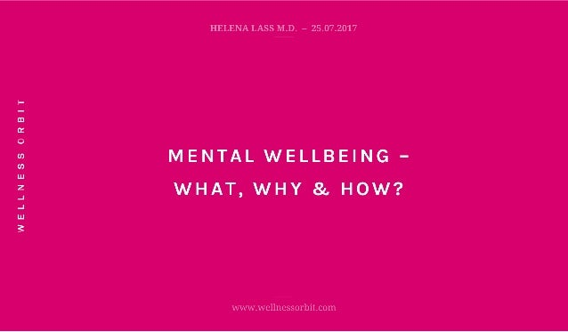 Mental Wellbeing – What, Why & How? – Dr Helena Lass, Founder of Wellness Orbit