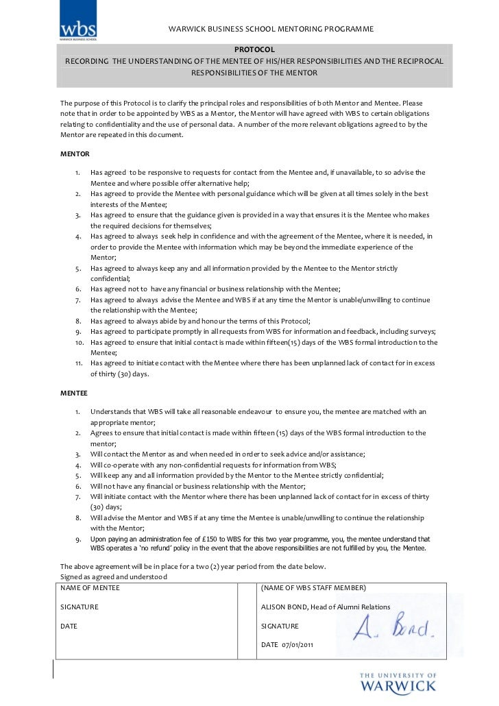Mentee Protocol 2 Year Agreement