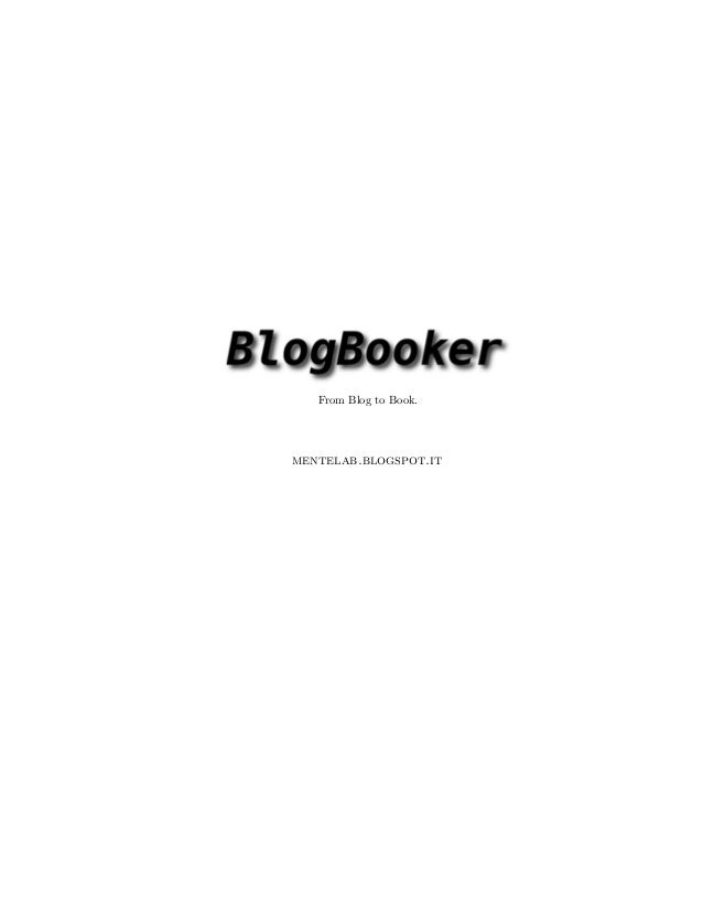 From Blog to Book. mentelab.blogspot.it