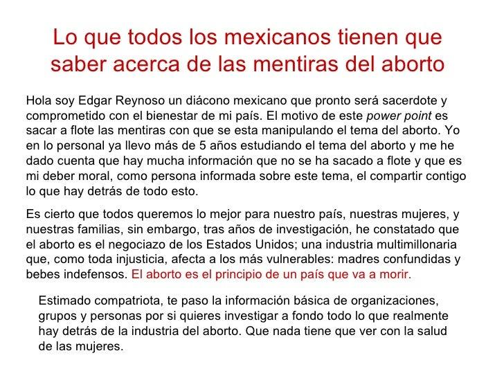 Lo que todos los mexicanos tienen que saber acerca de las mentiras del aborto Hola soy Edgar Reynoso un diácono mexicano q...