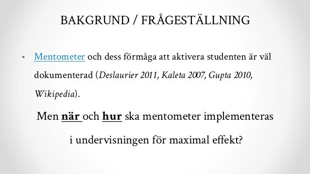 Mentometer i undervisning (Clickers in teaching) Slide 2