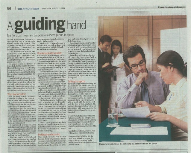 Mentor   A guiding hand - The Straits Times  29 March 2014