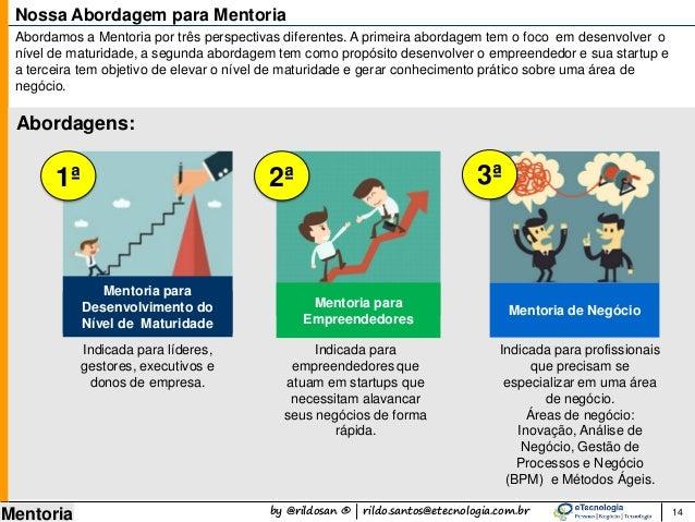 by @rildosan ® | rildo.santos@etecnologia.com.br Mentoria 14 Nossa Abordagem para Mentoria Indicada para líderes, gestores...