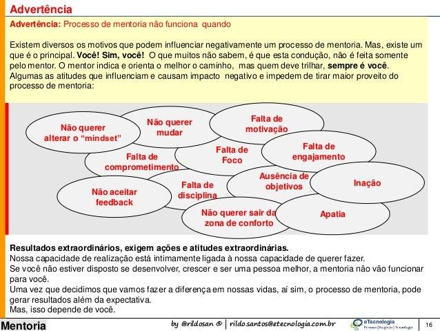 by @rildosan ® | rildo.santos@etecnologia.com.br Mentoria 16 Advertência Advertência: Processo de mentoria não funciona qu...