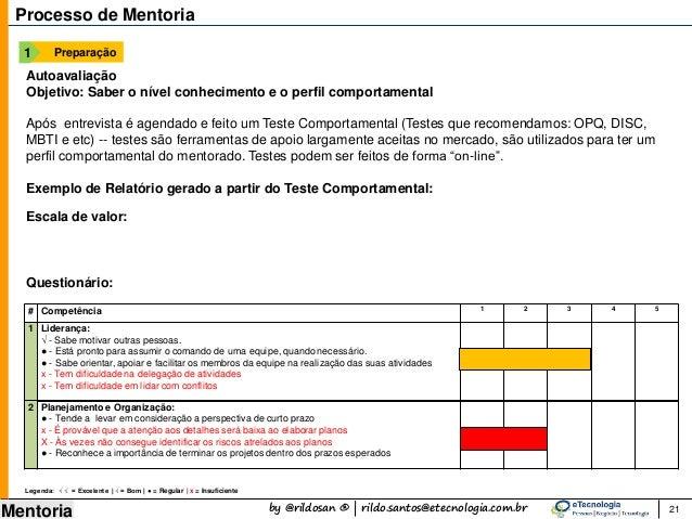 by @rildosan ® | rildo.santos@etecnologia.com.br Mentoria 21 Processo de Mentoria Preparação1 Autoavaliação Objetivo: Sabe...