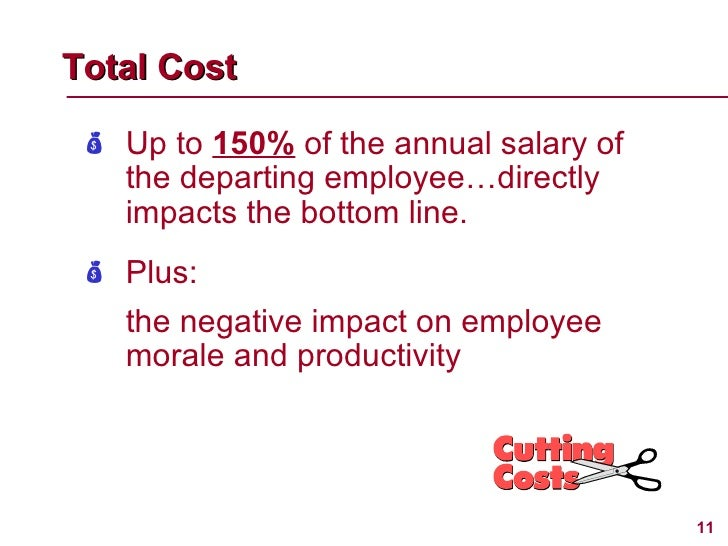 Total Cost   <ul><li>Up to  150%  of the annual salary of the departing employee…directly impacts the bottom line. </li></...