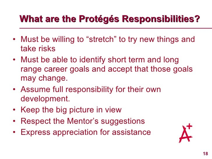 """What are the Prot é g és  Responsibilities? <ul><li>Must be willing to """"stretch"""" to try new things and take risks </li></u..."""