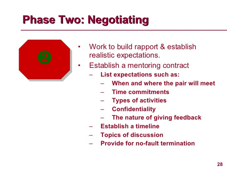 <ul><li>Work to build rapport & establish realistic expectations. </li></ul><ul><li>Establish a mentoring contract </li></...