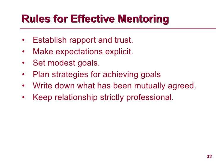 <ul><li>Establish rapport and trust. </li></ul><ul><li>Make expectations explicit. </li></ul><ul><li>Set modest goals. </l...