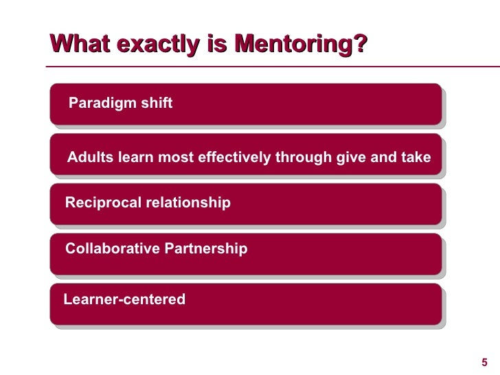 What exactly is Mentoring? Learner-centered Paradigm shift Reciprocal relationship Adults learn most effectively through g...
