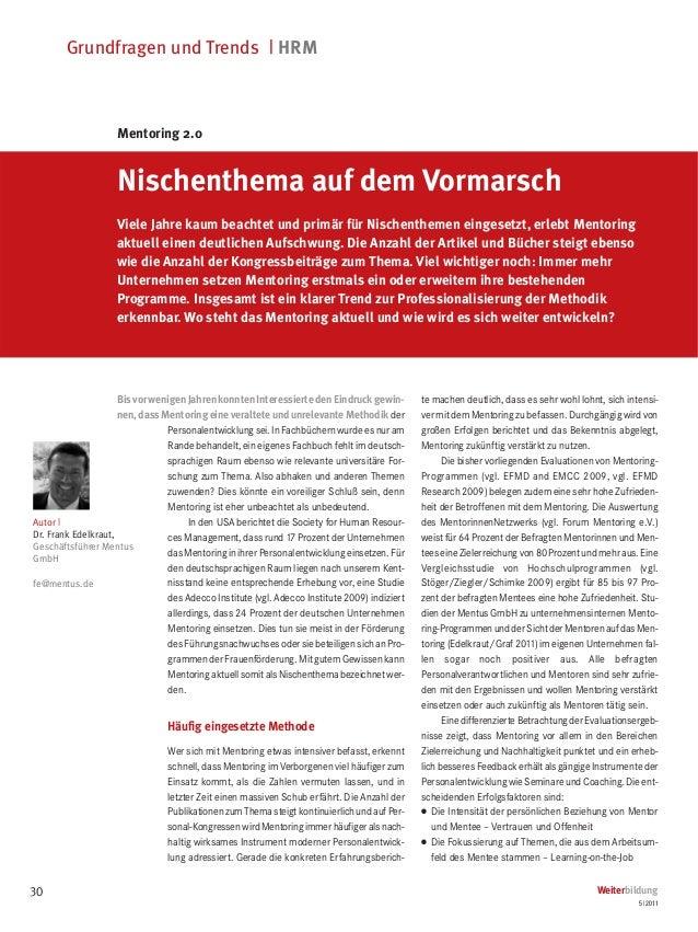 Grundfragen und Trends | HRM                    Mentoring 2.0                    Nischenthema auf dem Vormarsch           ...