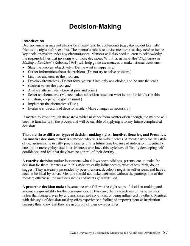 Decision making worksheets for adults