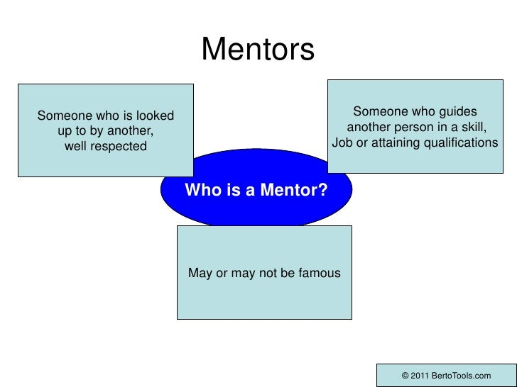 Mentors<br />Someone who guides<br /> another person in a skill,<br />Job or attaining qualifications<br />Someone who is ...