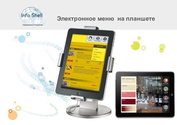 Электронное меню на планшете