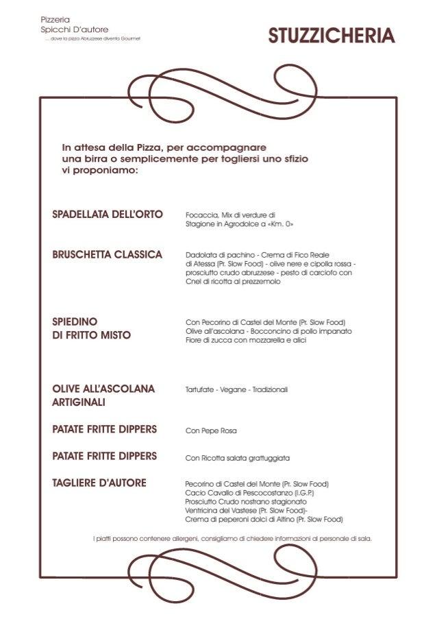 Menu Spicchi d'Autore Pizza Gourmet Giulianova