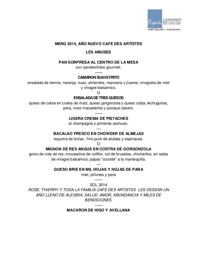 MENÚ 2014, AÑO NUEVO CAFE DES ARTISTES LES AMUSES PAN SORPRESA AL CENTRO DE LA MESA con sandwichitos gourmet. —— CAMARON S...