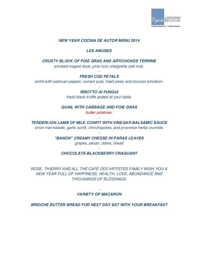Menu a o nuevo para cocina de autor 2014 esp ing for Cocina de autor