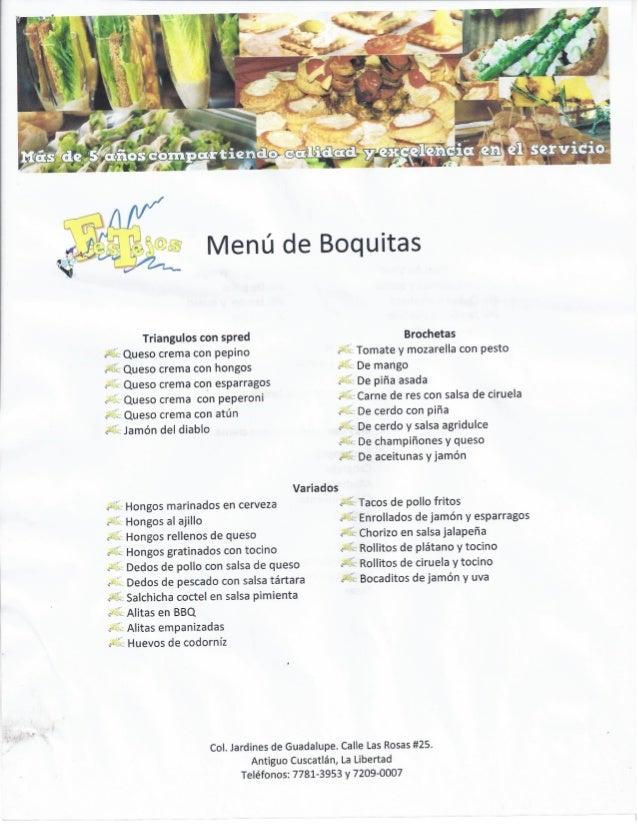 Menú Boquitas