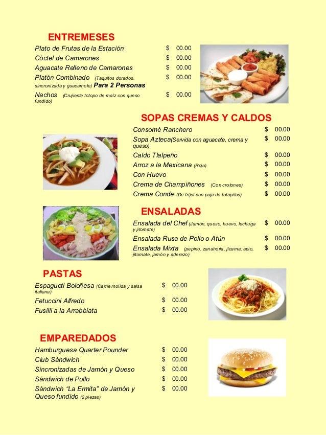Restaurant Midas Menu
