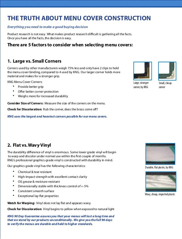 THE TRUTH ABOUT MENU COVER CONSTRUCTION 1. Large vs.Small Corners Corners used by other manufacturers weigh 75% less and o...