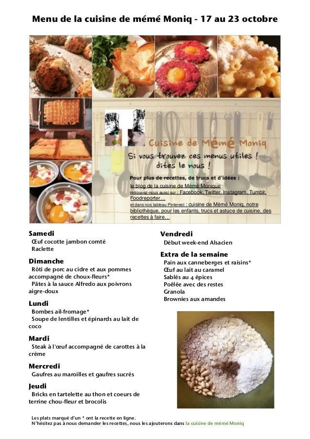 Samedi Œuf cocotte jambon comté Raclette Dimanche Rôti de porc au cidre et aux pommes accompagné de choux-fleurs* Pâtes à ...