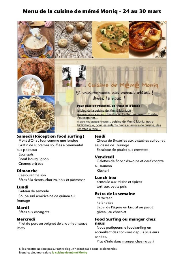 Menu De La Cuisine De Meme Moniq Du 24 Au 30 Mars