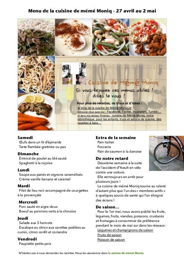 Menu De La Cuisine De Meme Moniq 27 Avril Au 2 Mai