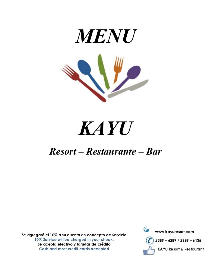 MENU                             KAYU              Resort – Restaurante – Bar                                             ...