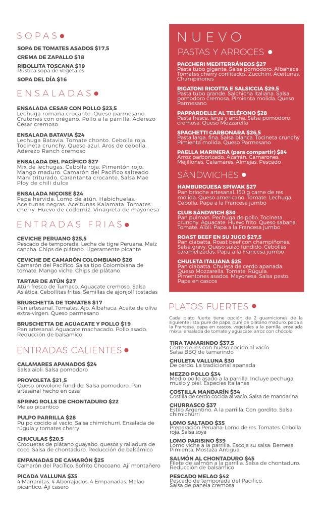 Menu Restaurante La Zarzuela 2016