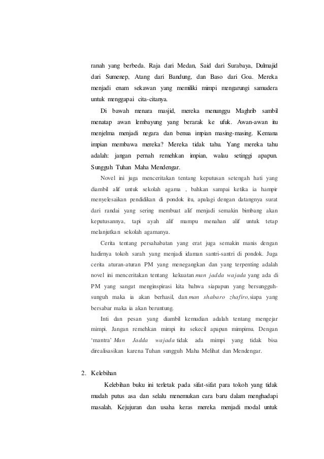 Contoh Resensi Novel Novel Negeri 5 Menara