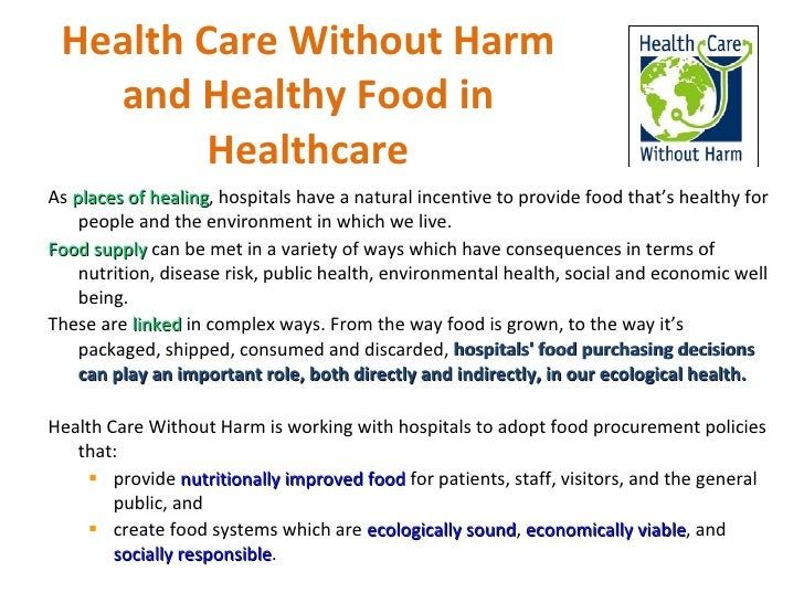 Health Care Without Harm Healthy Food In Healthcare
