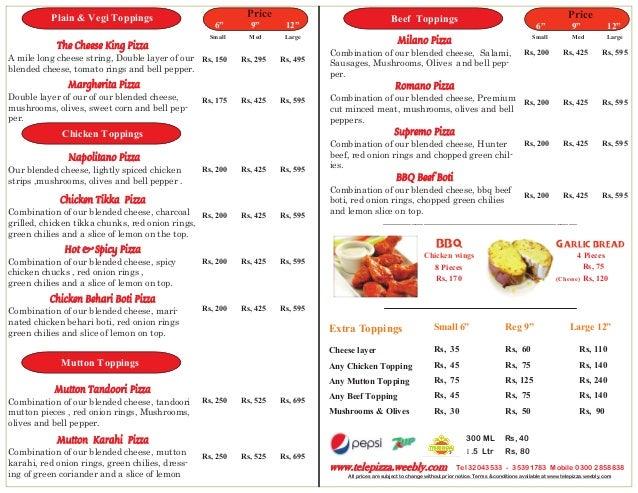 Telepizza menu pdf for N gents salon karachi prices