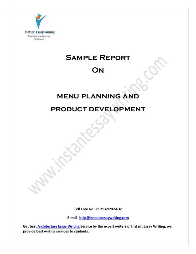 Menu planning and product development