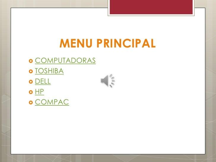 MENU PRINCIPAL COMPUTADORAS TOSHIBA DELL HP COMPAC