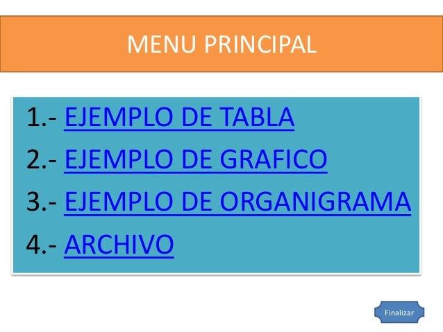 MENU PRINCIPAL  1.- EJEMPLO DE TABLA  2.- EJEMPLO DE GRAFICO  3.- EJEMPLO DE ORGANIGRAMA  4.- ARCHIVO  Finalizar