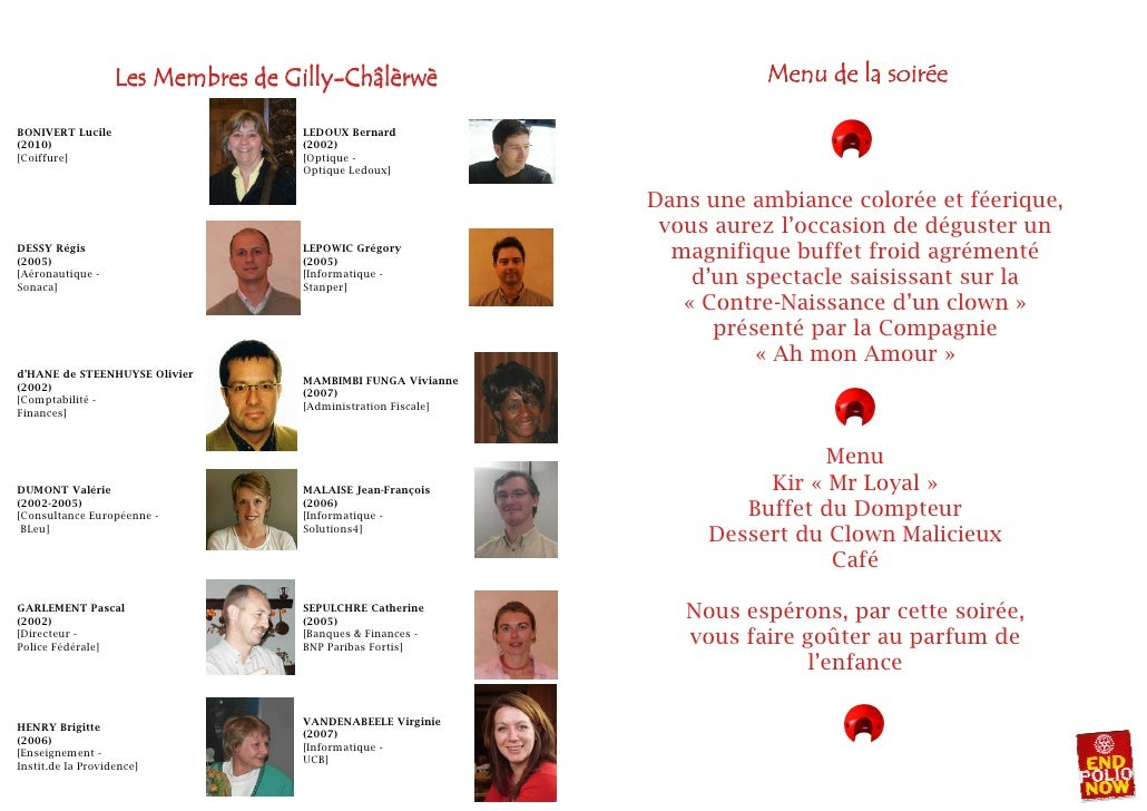 Rotary Gilly-Châlèrwè Menu programme Soirée Cirque du 20-03-2010 Slide 3
