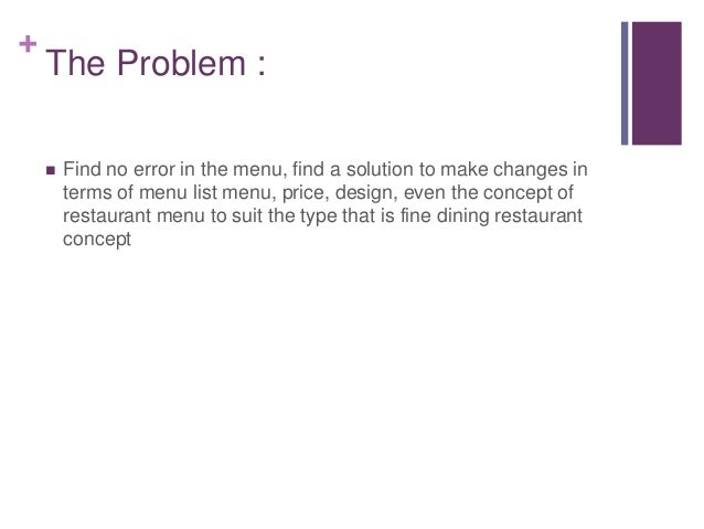 Artifice Restaurant Menu Improvement
