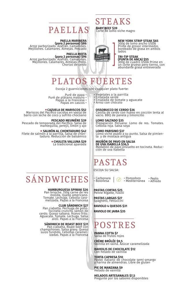 Menú Restaurante en Cali La Zarzuela 2018