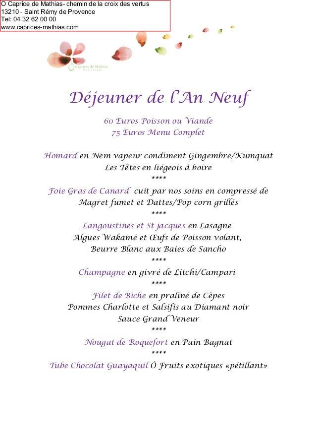 Menu Reveillon De Noel.Menus De Noel Et Jour De L An 2014 Saint Remy De Provence