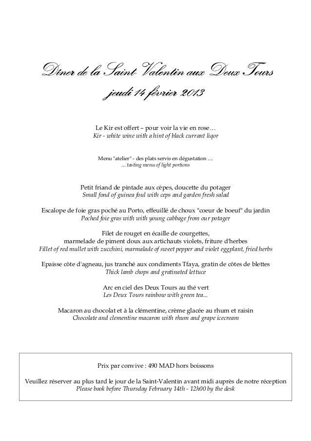 Dîner de la Saint-Valentin aux Deux Tours                 Saint-                  jeudi 14 février 2013                   ...