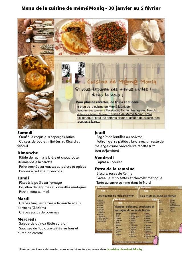 Samedi   Oeuf à la coque aux asperges rôties   Cuisses de poulet mijotées au Ricard et fenouil   Dimanche   Râble de lapin...