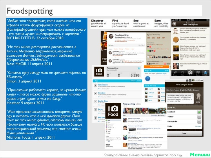 Food apps competitive analysis (Apr 2011) Slide 3