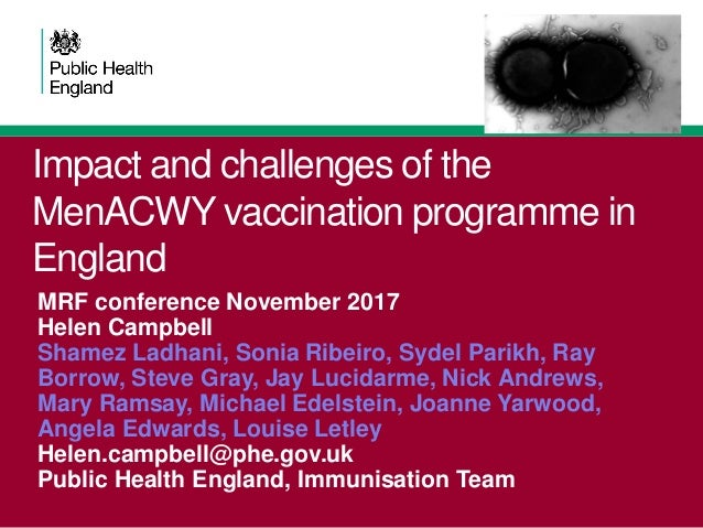 Impact and challenges of the MenACWY vaccination programme in England MRF conference November 2017 Helen Campbell Shamez L...