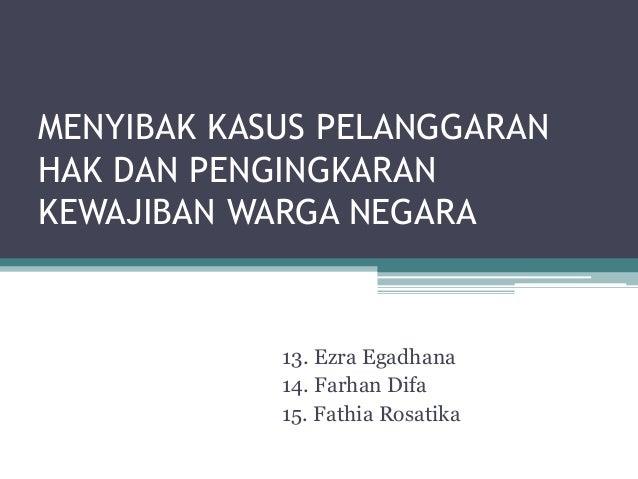 Kasus hak dan kewajiban warga negara