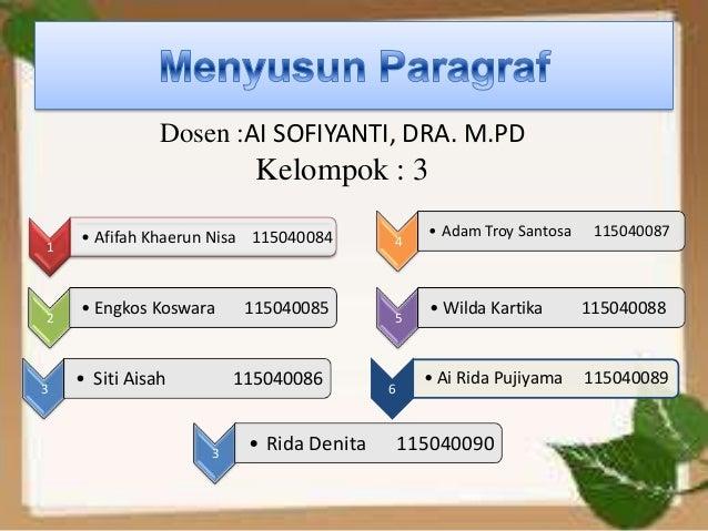 Dosen :AI SOFIYANTI, DRA. M.PD                          Kelompok : 3    • Afifah Khaerun Nisa 115040084          • Adam Tr...